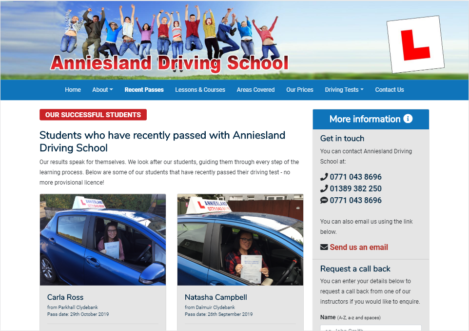 Anniesland Driving School Website